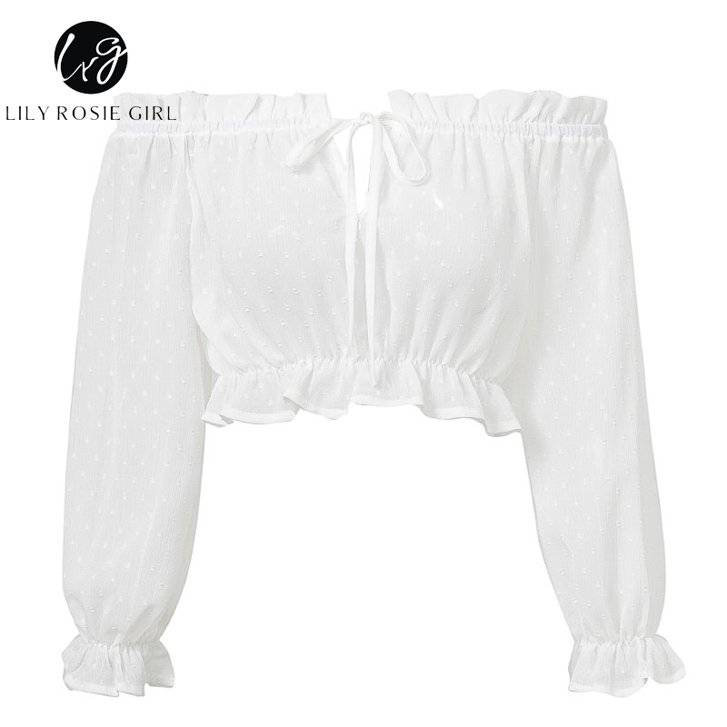 Lily Rosie Fille Épaule Blanche Femmes Chemise Blouse Chemise solide Blouse à manches longues High Street See Through Club Sexy Crop Top Y19042902