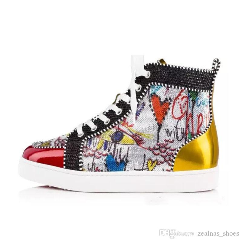 New Brand Red Bottom Spikes Woman Flat Men Shoes Luxury Print Silver Pik Pik No Limit RARE studs rhinestones graffiti shoes