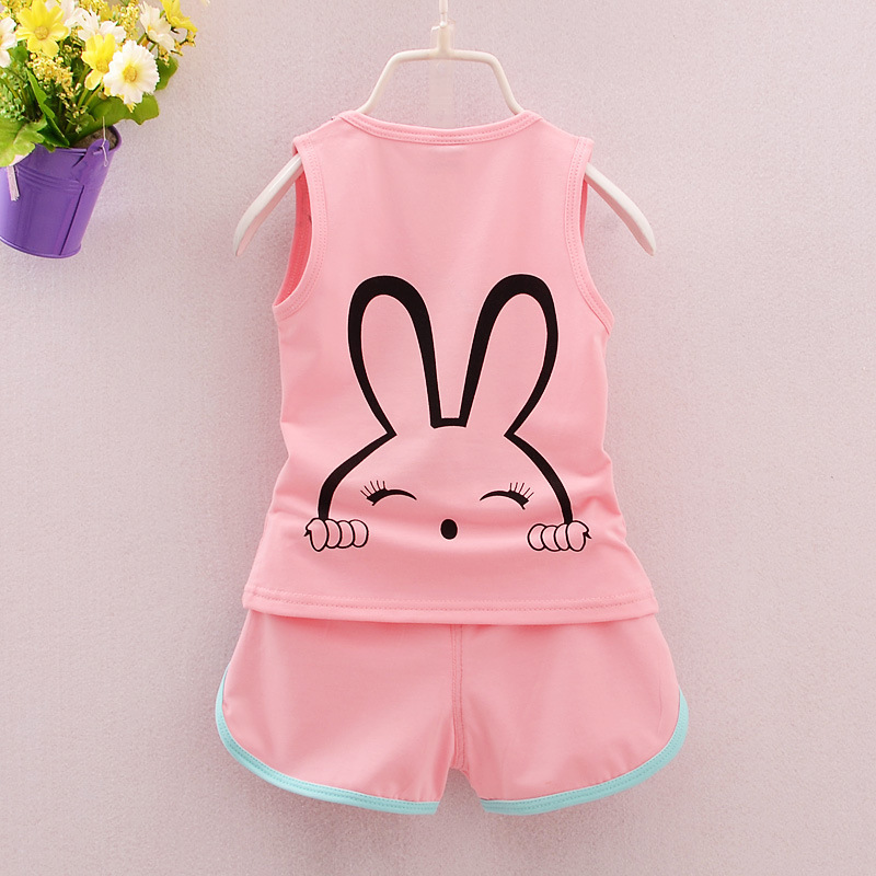 Children Cotton Clothing Suits Cartoon Cute Bunny Baby Boys Girls Vest Short /sets 2019 Summer Kids Casual Outfit Tracksuit