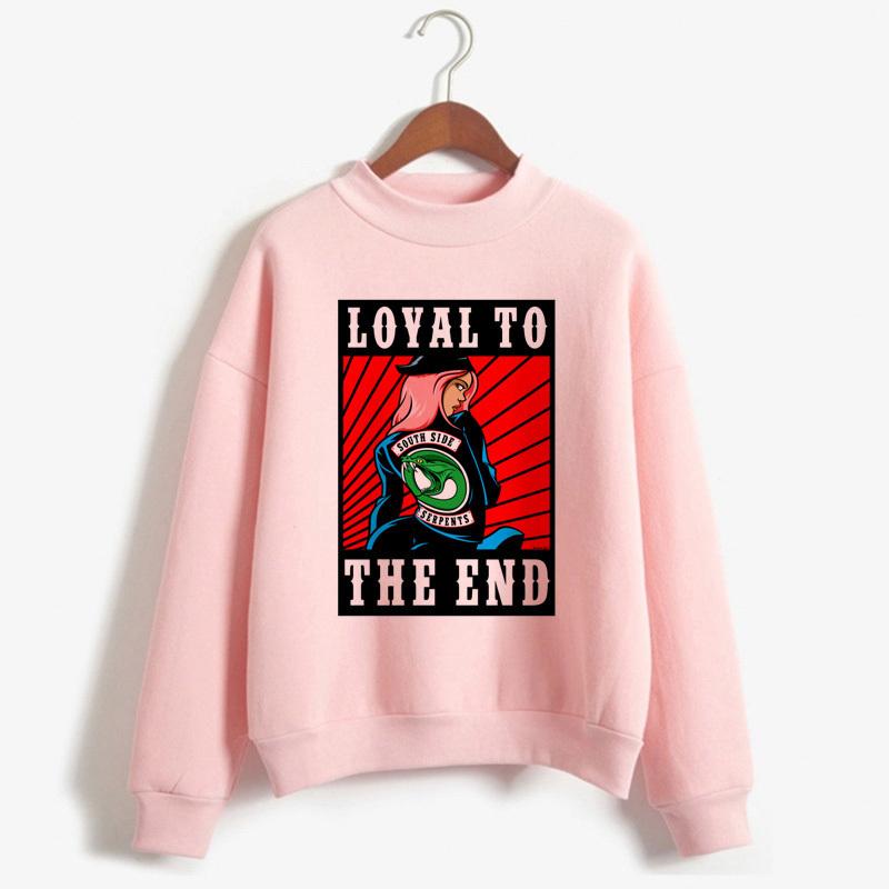 Riverdale Толстовка Женщина Pink South Side Змея Толстовка пуловер с длинным рукавом Корейского Толстовка Водолазка повседневная водолазка Одежда