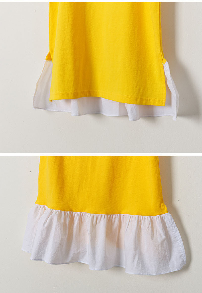 Ruffles Patchwork Little Big Girl Dresses Cotton Summer Yellow Kids Dresses Designs Teenager Children Boutique Clothes 2019 (3)