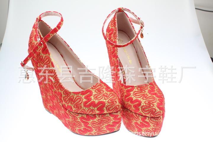Fascinating2019 Свадебные Кружева Невесты Обувь Превосходить Высокий Уклон С 15 см Женская Обувь Размер 30-43 Код