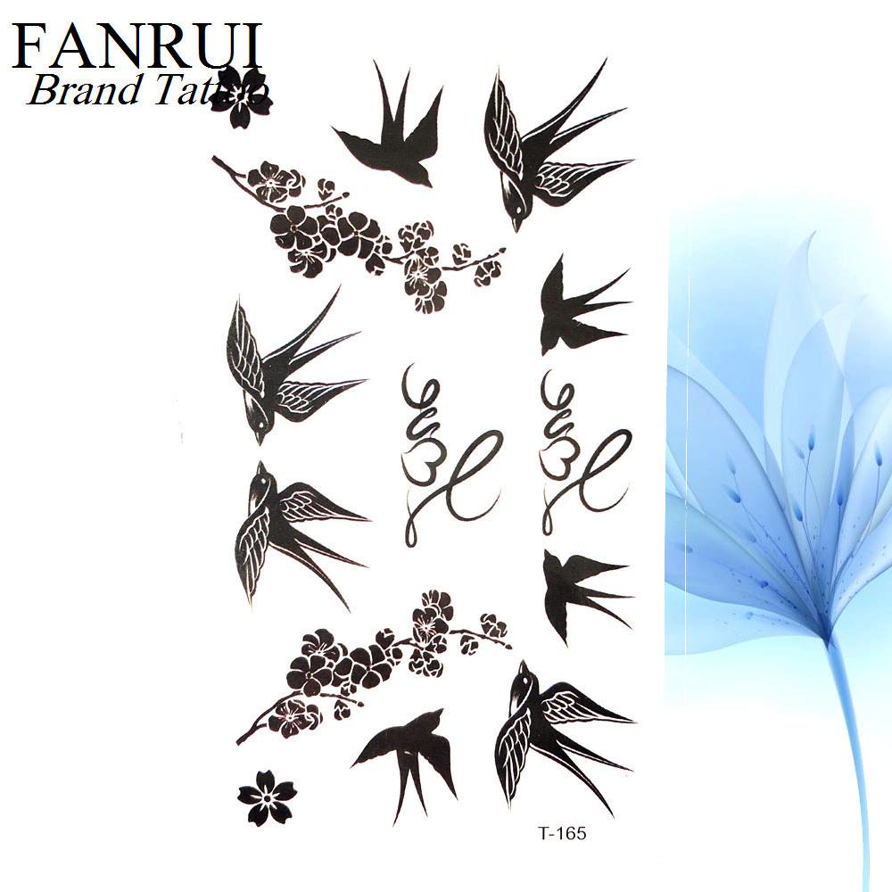 Cute Swallow Bird Feather Temporary Stickers Flower Branch Letter Water Transfer Tattoo Women Body Chest Arm Art Tattoo Men Hand D19011202