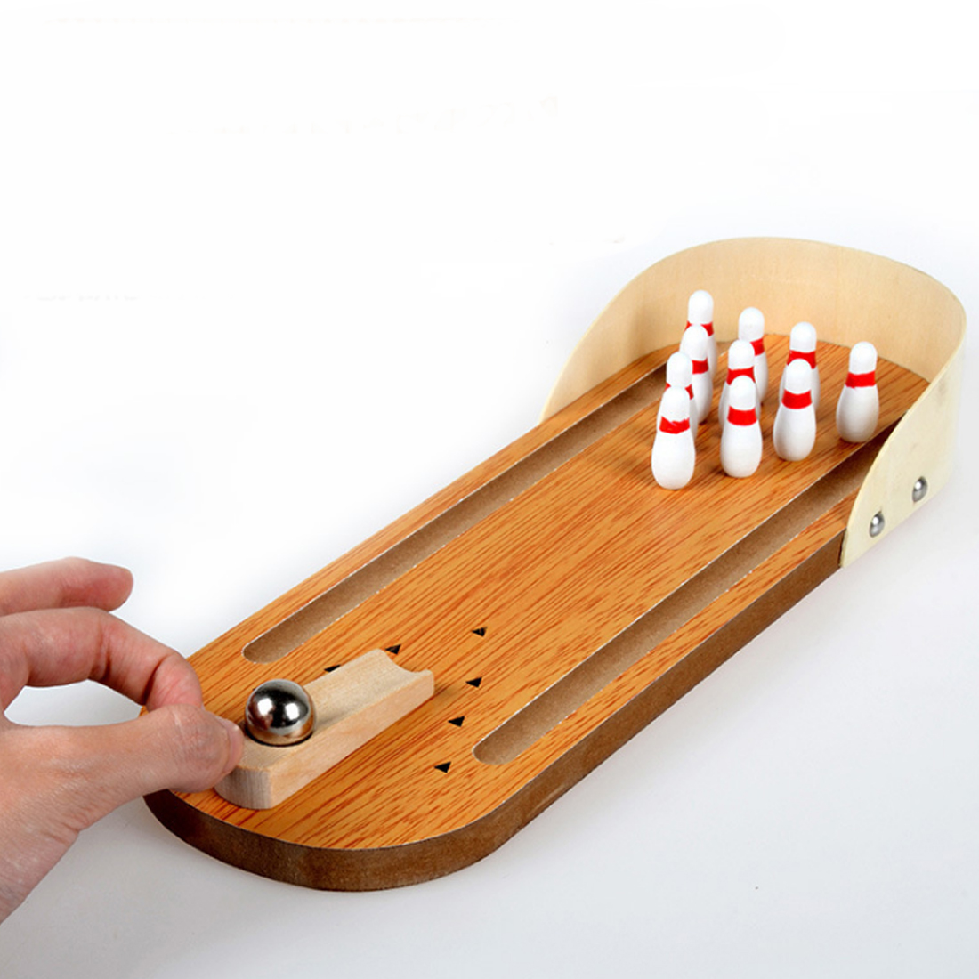 Children Sport Toys Wooden Mini Bowling Game Interactive Educational Desktop Toys for Kid Playing Finger Game Kit