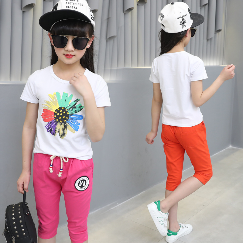 Girls Clothing Sport Sets Summer Suits Children's Girl's Cotton Short Sleeve T-Shirt +pant 3-12 Ages Lovely Baby Girl Clothes