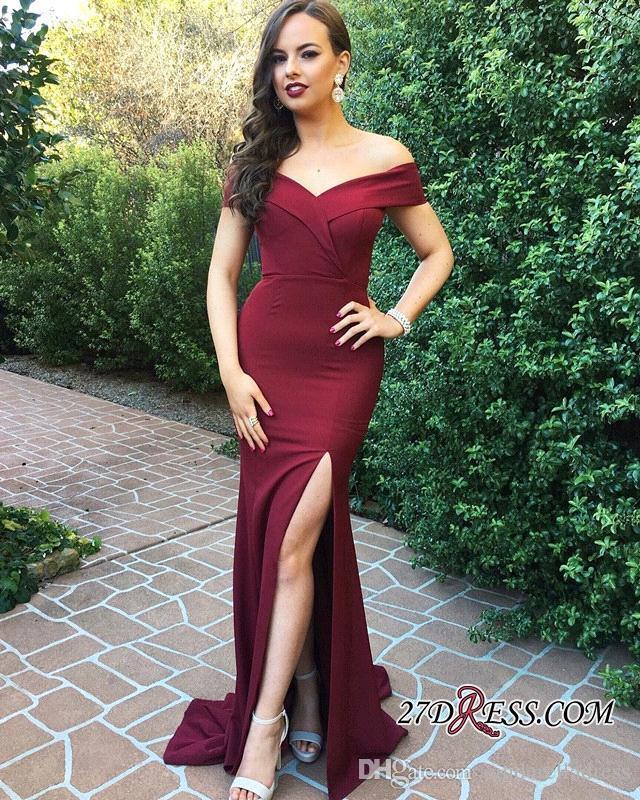 2018 Burgundy Long Split Side Evening Dresses Off THe Shoulder Satin Elegant Sleeveless Prom Gowns For Party Dress BA7503