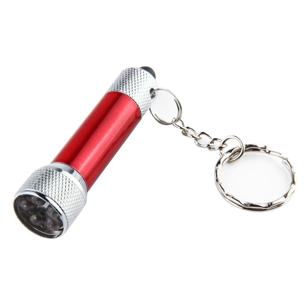 BRELONG Portátil 5 LED Mini linterna Antorcha Llavero de aluminio Llavero Llavero Azul rojo plata negro