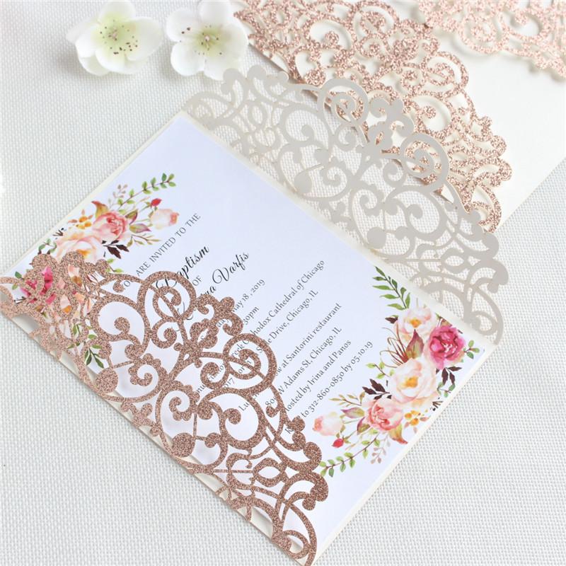 Großhandel Gold Silber Hochzeitseinladung Drucken Freies Hochzeitskarte Laser Geschnittene Luxus Schmetterlingsband Party Glitzernde Mit Schiff hdxtQrsC