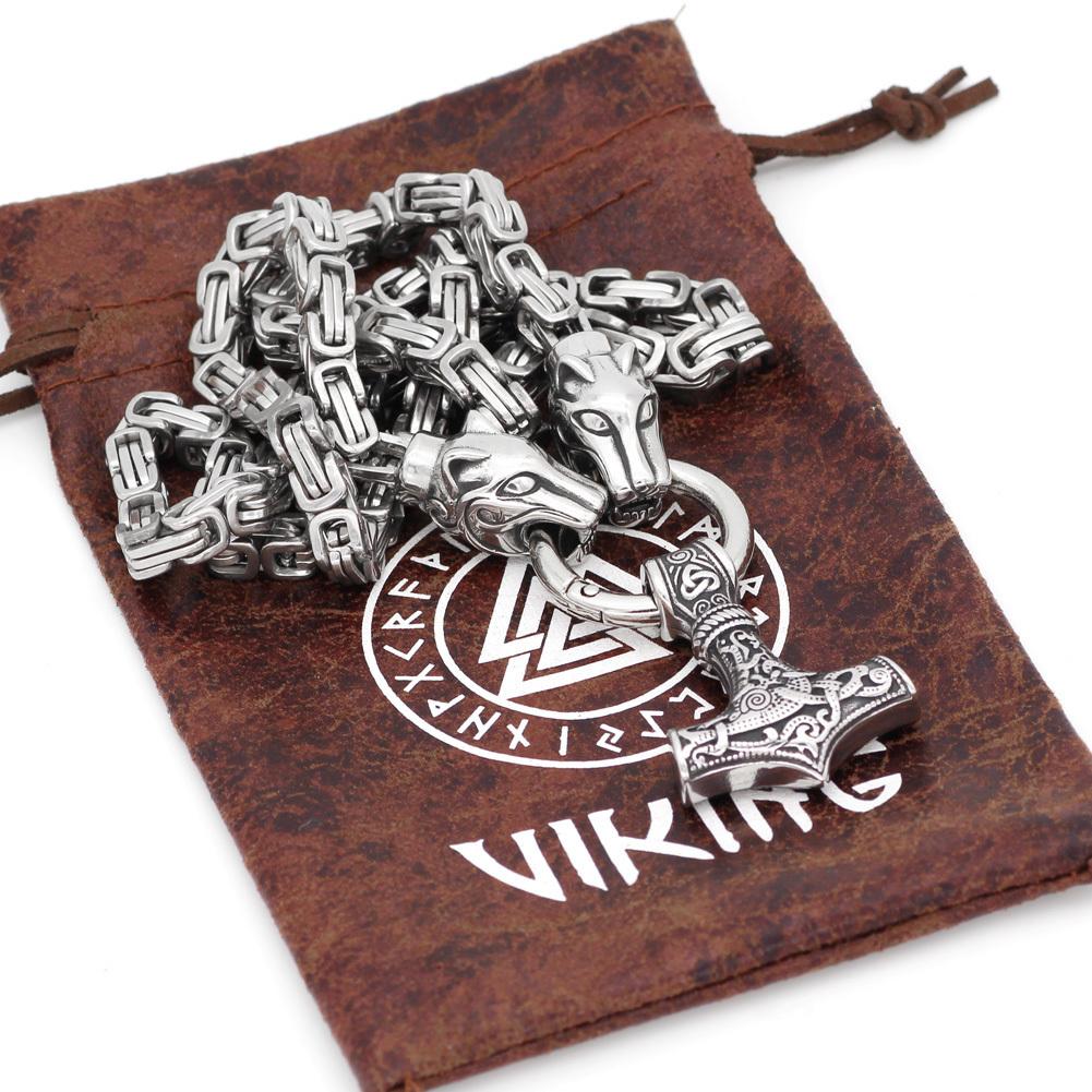 Мужчины из нержавеющей стали Viking Oidn Wolf Head с Thor Hammer Mjolnir Подвеска-Цепочка-цепочка Q190413
