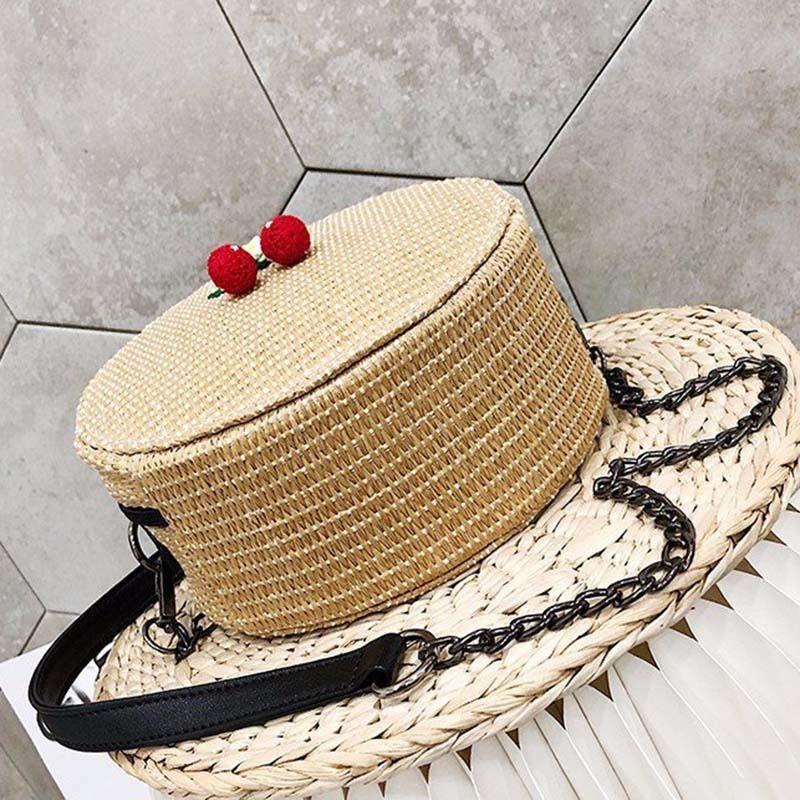New Women Circle Handbag Summer INS Popular Female Straw Bag Cherry Lady Knit Shoulder Bag Fashion Holiday Crossbody SS7314 (1)