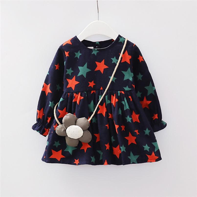 Girl Clothes Girls Dress Toddler Baby Girls Long Sleeve Star Printed Princess Dress+Cartoon Shoulder Bag Set girl costume D18 (1)