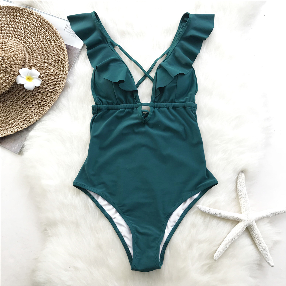 85d79a786c9 Cupshe Burgundy Heart Attack Falbala One-piece Swimsuit Women Ruffle V-neck  Monokini 2019 New Girls Beach Bathing Suit Swimwear T3190601