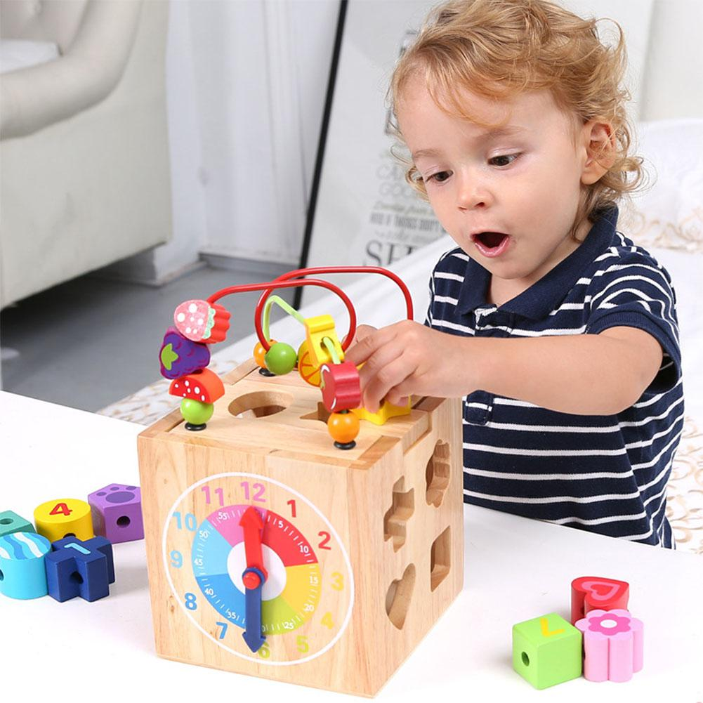 LeadingStar Wooden Cube Bead Maze Roller Coaster with Shape Sorter Clock Knock Piano Kids Learning Educational Counting Toys