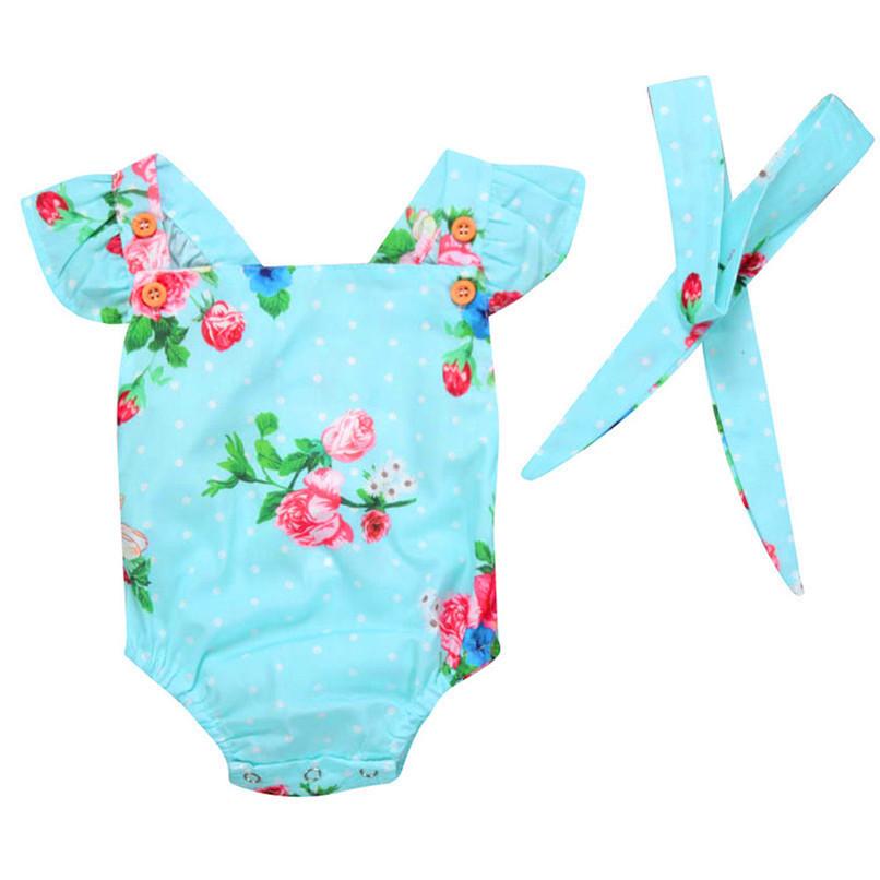 Summer Girls Sets Cute Toddler Baby Girls Bodysuit Sleeveless Floral Jumpsuit Romper+Headband Clothes Set M8Y07 (1)