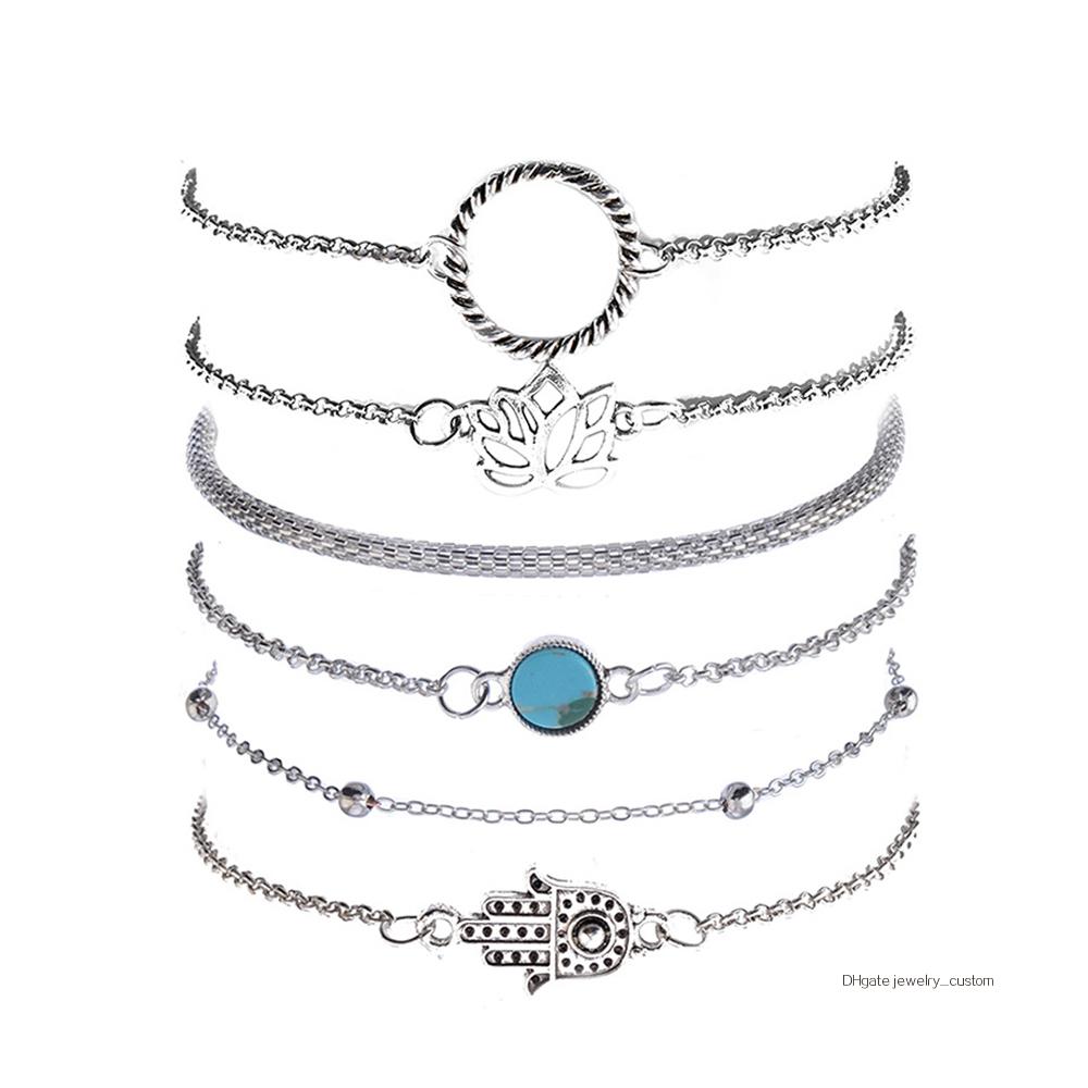 6-unids-set-bohemio-Vintage-de-Color-plata-hueco-flores-de-loto-gema-pulsera-de-las (4)
