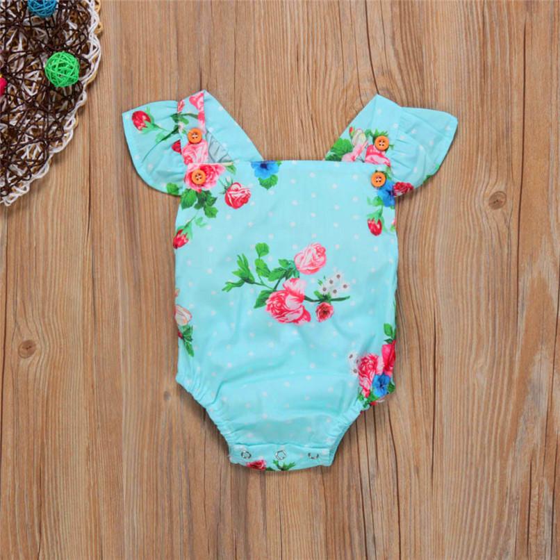 Summer Girls Sets Cute Toddler Baby Girls Bodysuit Sleeveless Floral Jumpsuit Romper+Headband Clothes Set M8Y07 (3)