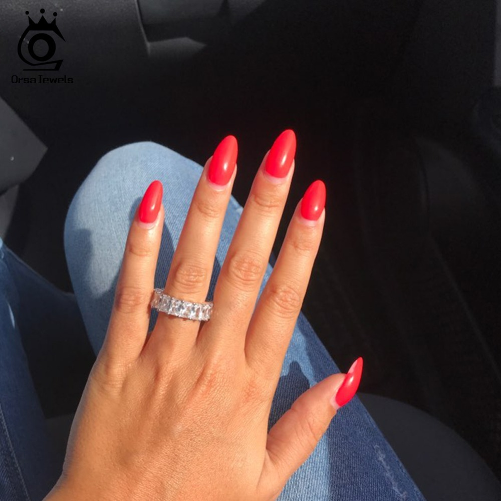 Cubic Eternity Rings Fashion Silver Color Wedding Band