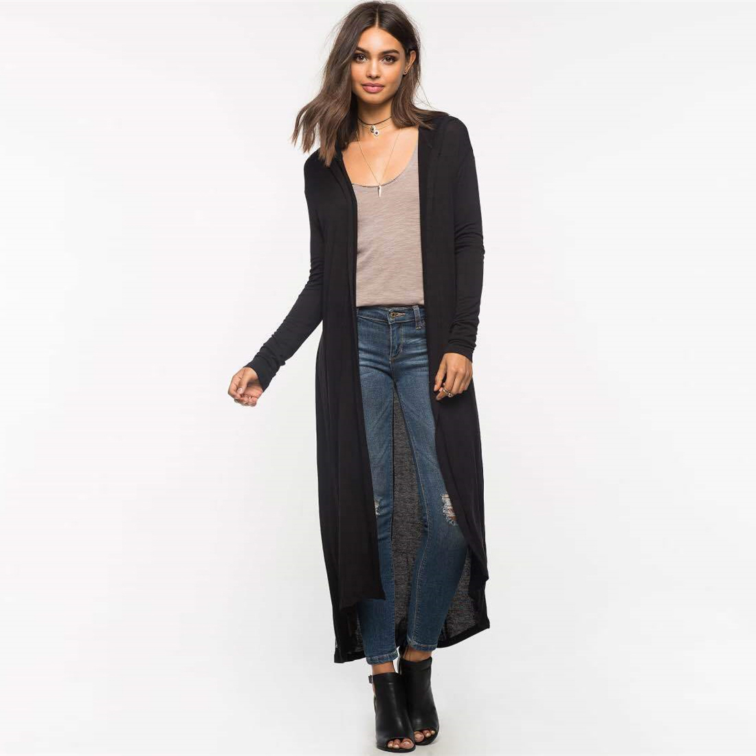 YJ Fashion Black Green Autumn Cardigans Women Full-Sleeved Long Thin Coats 2019 Irregular Hooded Cotton Sweaters Pull Femme Tops T190831