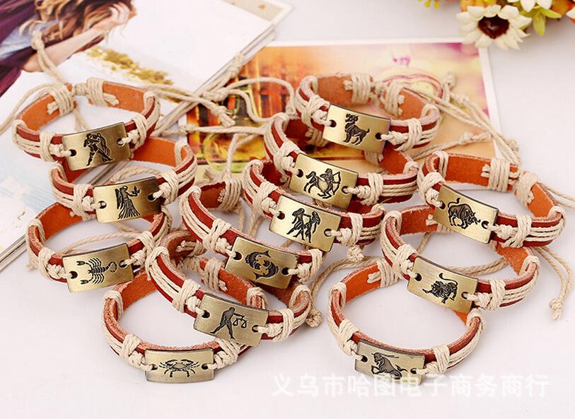Horoscope des Douze Constellations Métal Doré Véritable Cuir Bracelets Hommes Femmes Bracelet Bijoux Horscope Bélier Gémeaux Cancer Signes Du Zodiaque