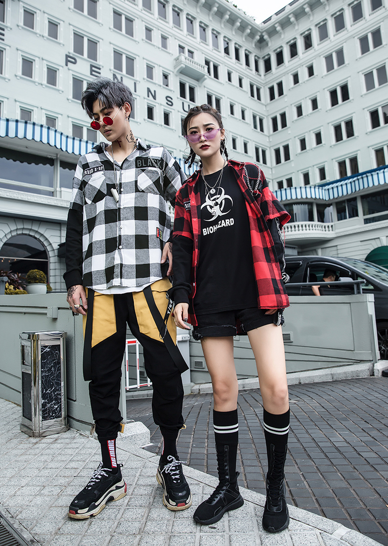 Red And Black Plaid Patchwork Shirt Men (26)