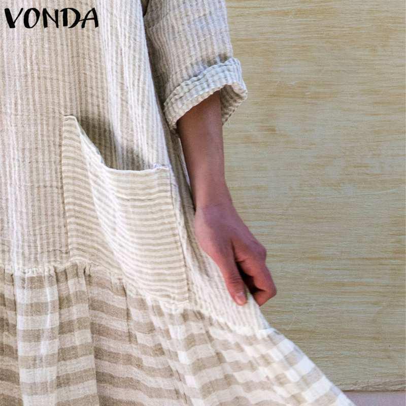 359acb38fa Vonda Women Long Dress 2019 Autumn Vintage Patchwork Striped Dresses O Neck  Long Sleeve Pockets Casual Loose Plus Size Vestidos Y190426 Dresses ...