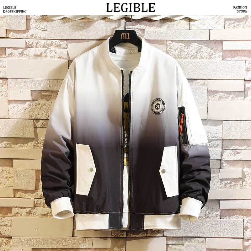 ERLOU Mens Long Sleeve Casual Autumn Winter Embroidery Print Jacket Uniform Zipper Outwear Coat Top Blouse