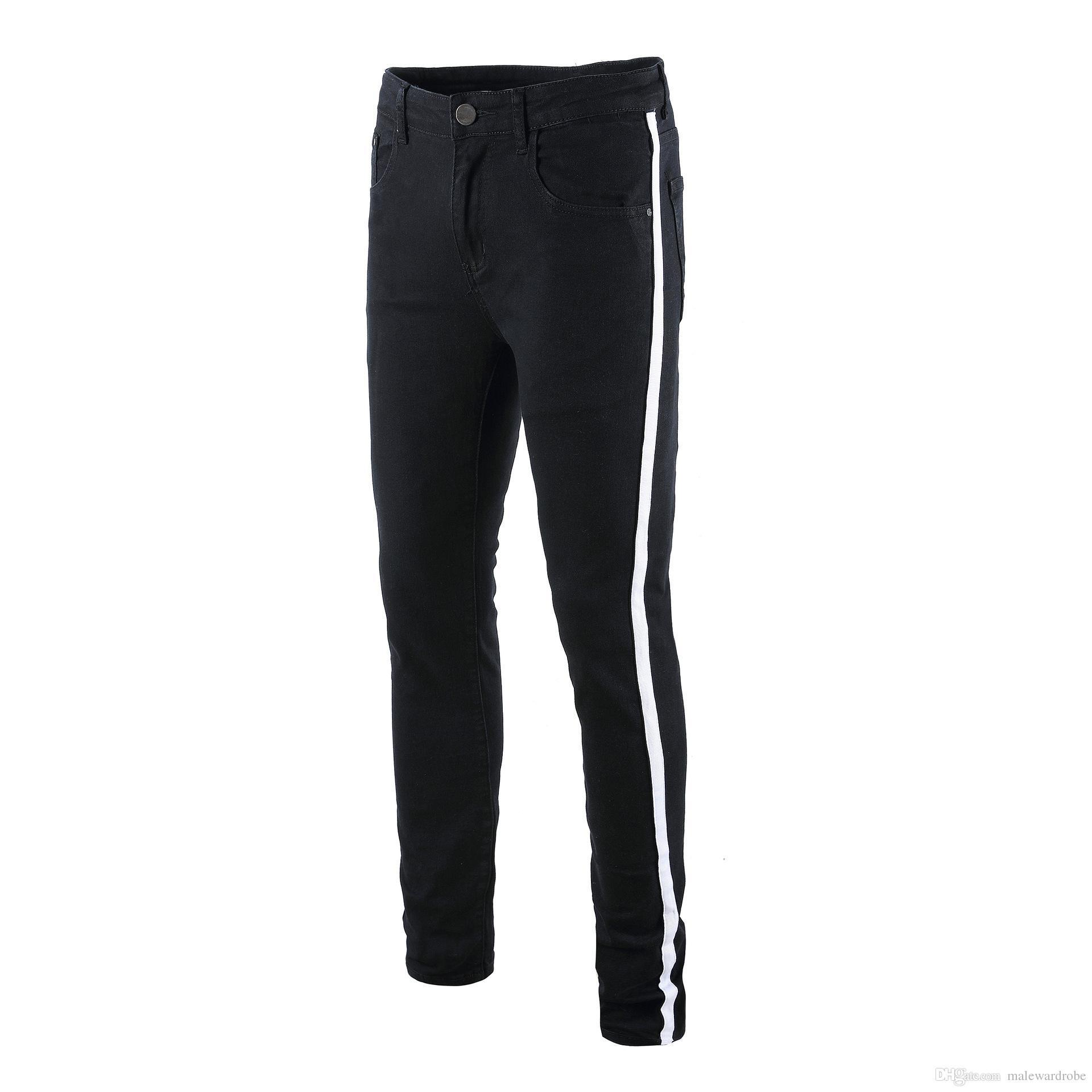 Mens Side Striped Black Jeans Elastic Long Pencil Pants Ripped Hiphop Style Holes