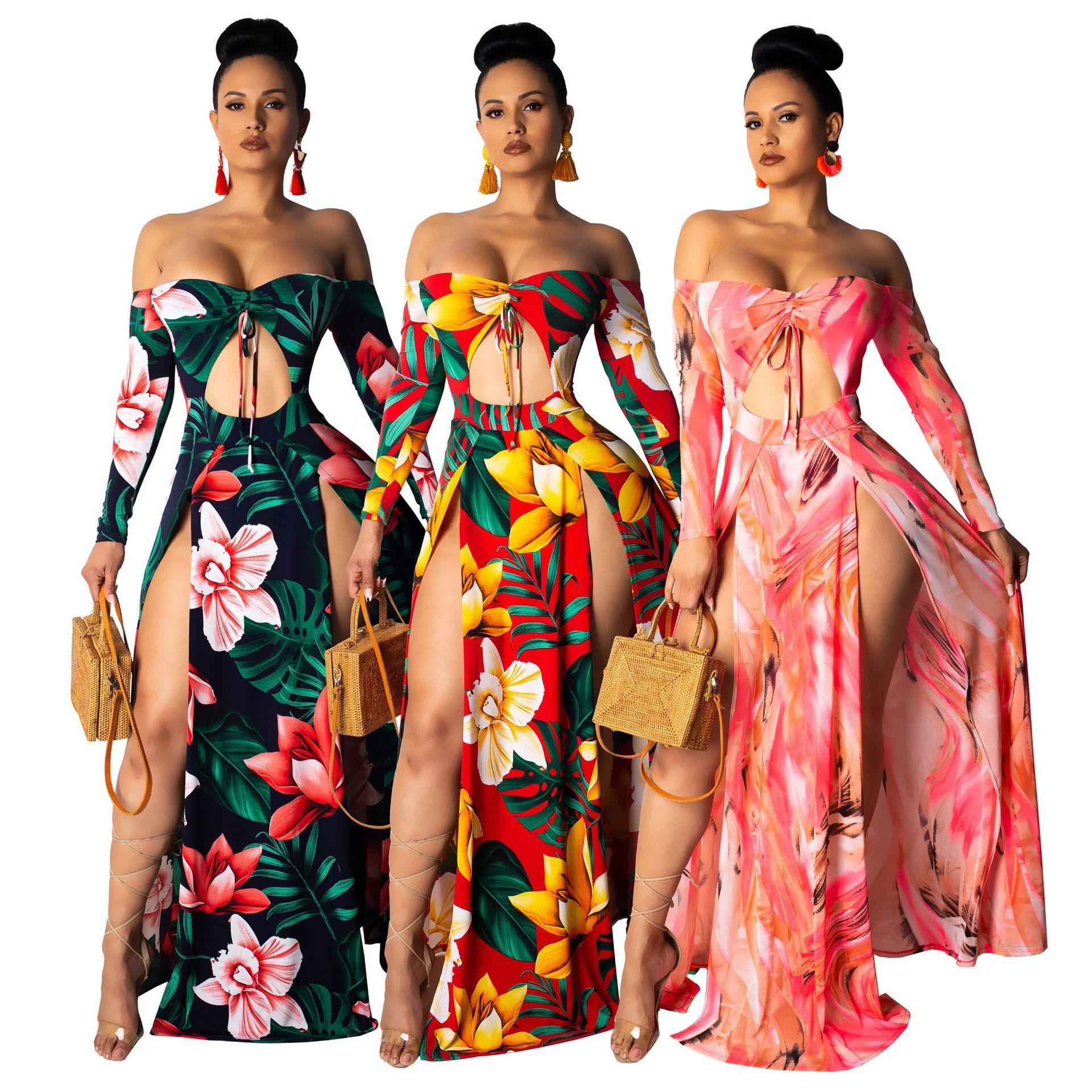 Womens Holiday Long Sleeve Ladies Maxi Summer BOHO Beach Dress Sundress Plus UK