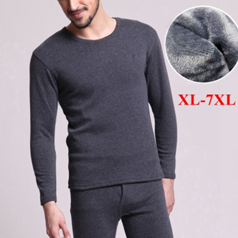 Big Men/'s Long Sleeve 100/% Cotton T Shirt Round Neck Thermal  Tops Size 4XL-9XL