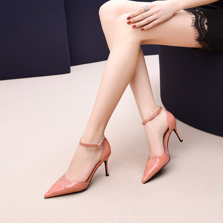 new woman sandals work shoes genuine leather pointed toe stiletto high top fashion design breathable Eu size 34-39 RG10675