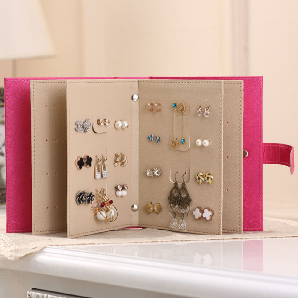 Jewelry Organizer Earring Collection Book Earring Studs Display Holder Box Travel Jewelry Case Makeup Organizers New Year Gift (1)