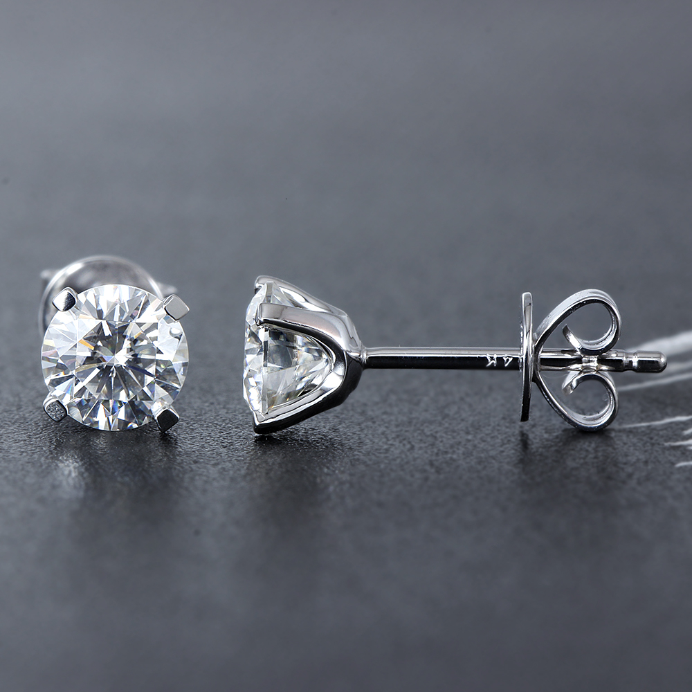 Solid 14K 585 White Gold 6.5mm F Color Heart and Arrow Cut Lab Grown Moissanite Stud Earrings for Women Push Back(2)