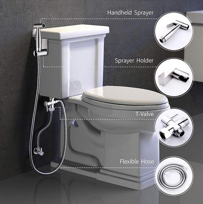 Bid/é Faucet negro WC de mano bidet rociador autolimpiador contempor/áneo
