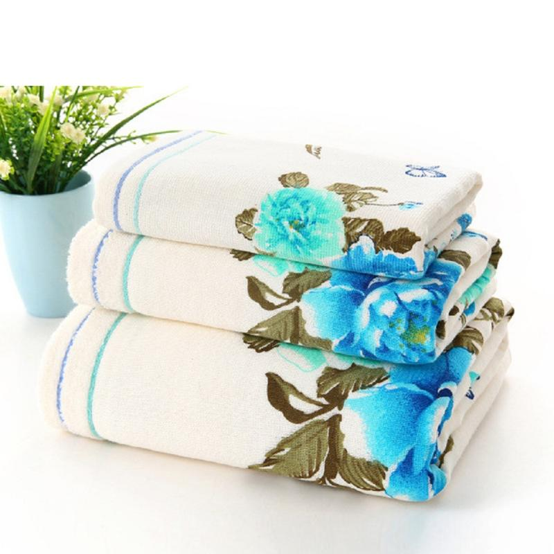 Large Soft Cotton Bath Towel Peony Flower Bathroom Home Hotel Beach Towel DB