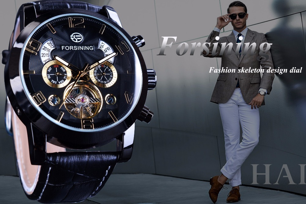 Forsining Tourbillion Fashion Wave Black Golden Clock Multi Function Display Mens Automatic Mechanical Watches Top Brand Luxury J190614