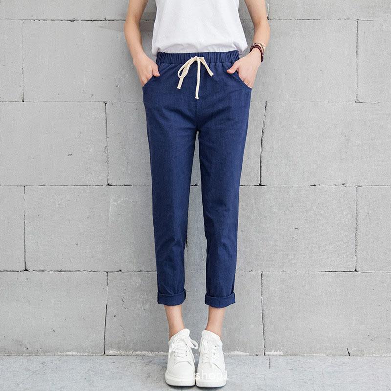 New-Women-Casual-Harajuku-Spring-Autumn-Big-Size-Long-Trousers-Solid-Elastic-Waist-Cotton-Linen-Pants