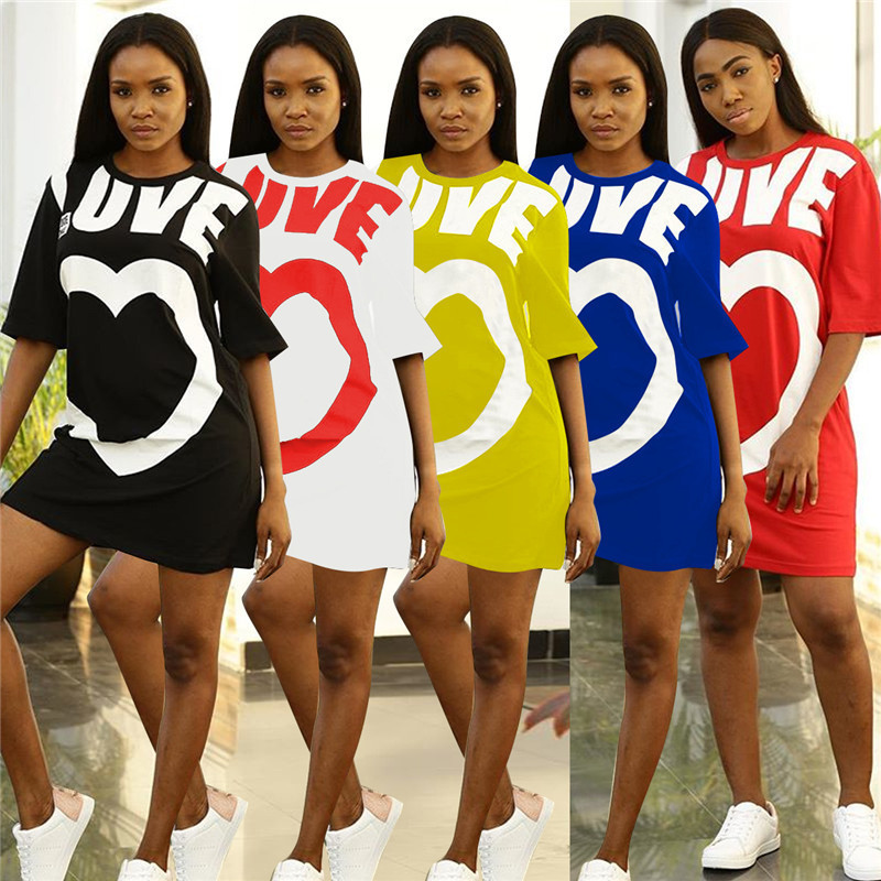 Casual Summer Dresses Women New Arrival Heart Prints Half Mouw Short Mini Dress O Neck Fashion Ladies Loose T -shirt