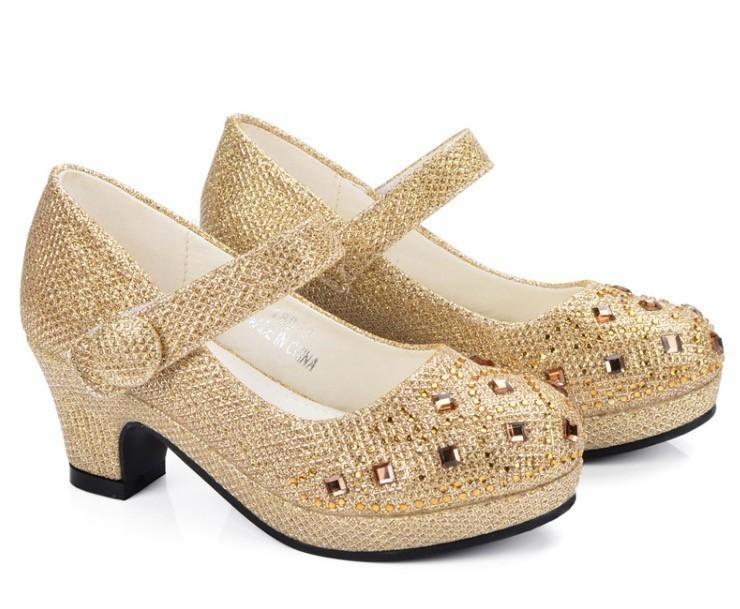 Best Children Princess Shoes For Girls Sandals High Heel Glitter Shiny Rhinestone Enfants Fille Female Party Dress Shoes