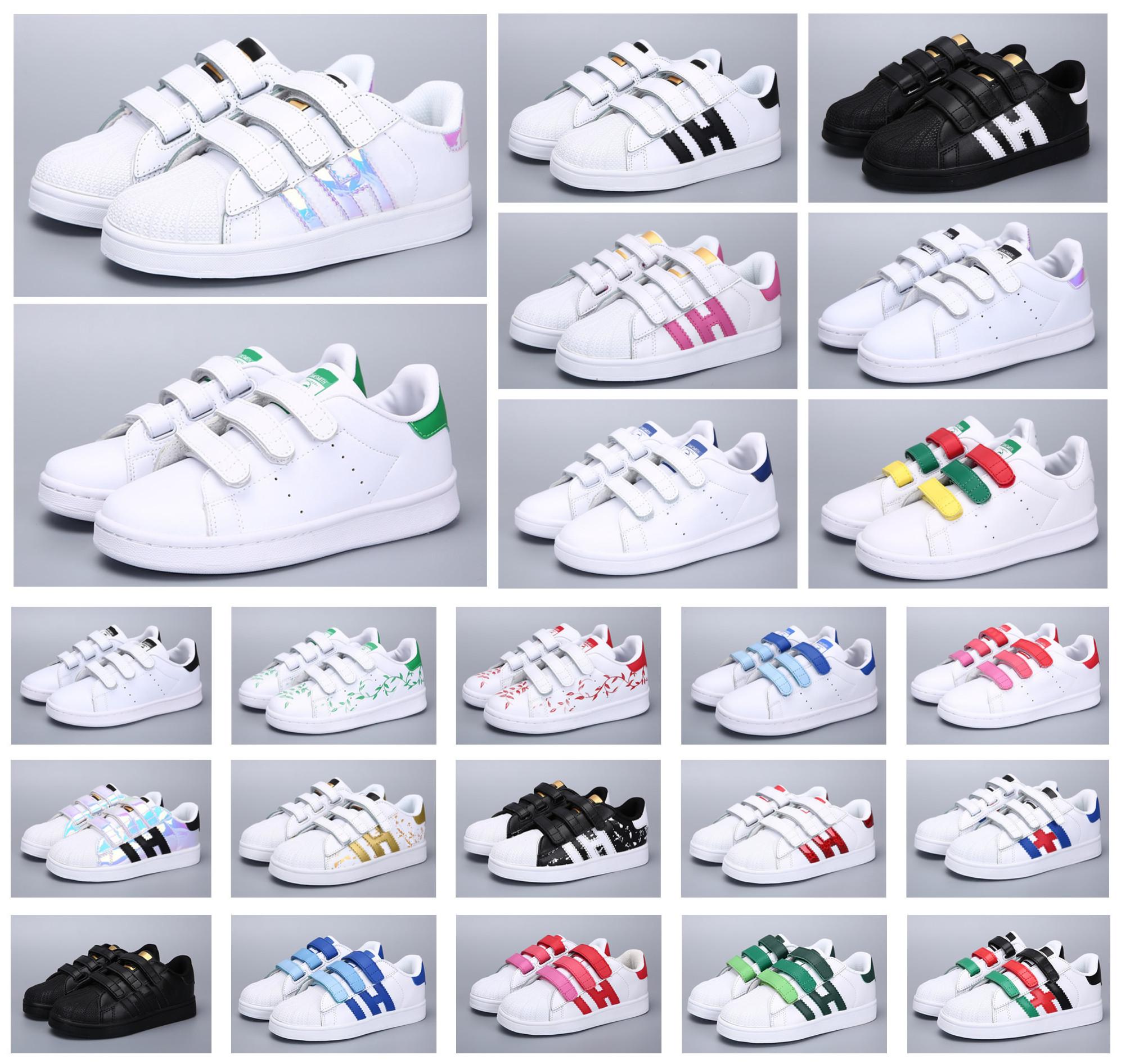 Classique Jeunesse Stan Smith Superstar Enfants Filles Enfant Garçons Bébé Chaussures De Sport Casual Sport Taille 24 35