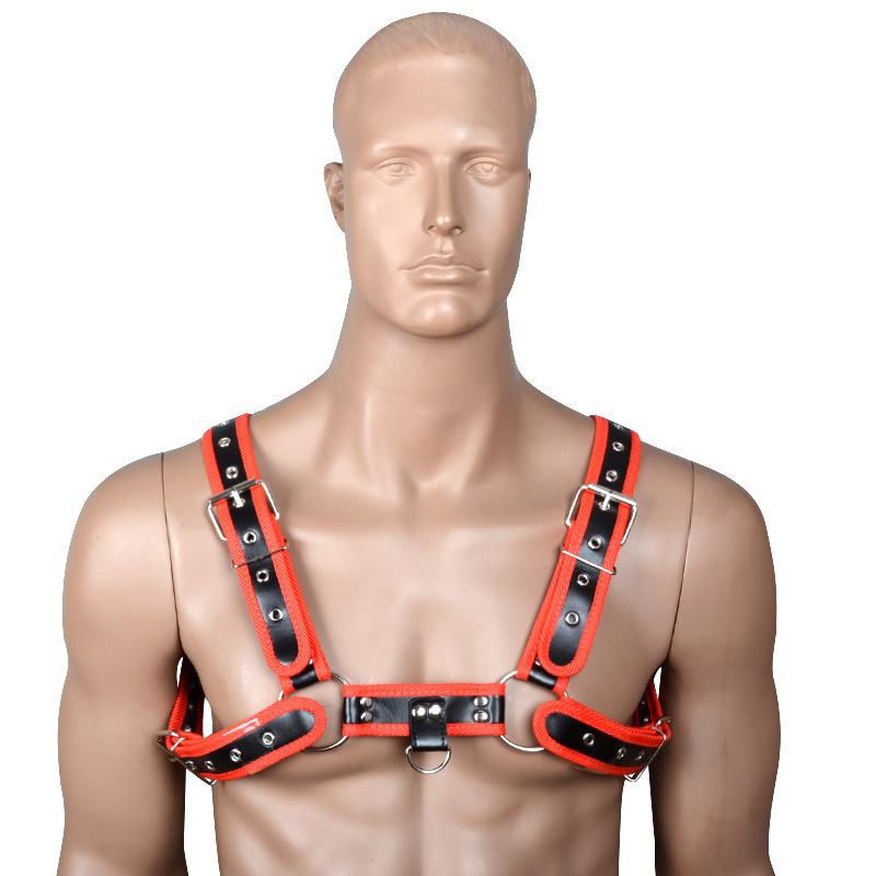 Dos homens Sexy Lingerie BDSM Bondage PU Couro Cinto No Peito Harness Clubwear Noite Trajes de Sutiã Gay Adulto Exótico Tanque para Homens C19010501