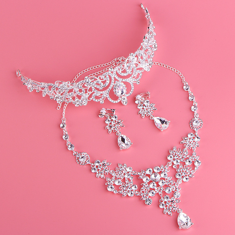 Rhinestone Jewelry Sets Necklace Pendant Tiaras Earrings For Women Pageant Wedding Crowns Bridal Hair Accessories (6)