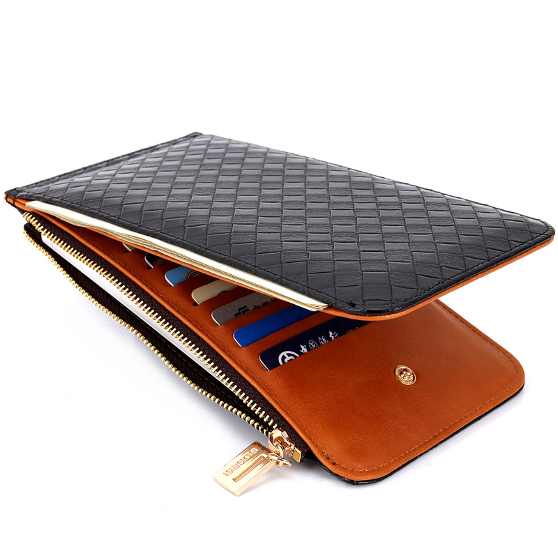 Woven Pattern Casual Cheap Pu Women Wallets Card Slots Bifold Case Long Wallet BOGESI Minimalist 19*10.5*1.5cm X489