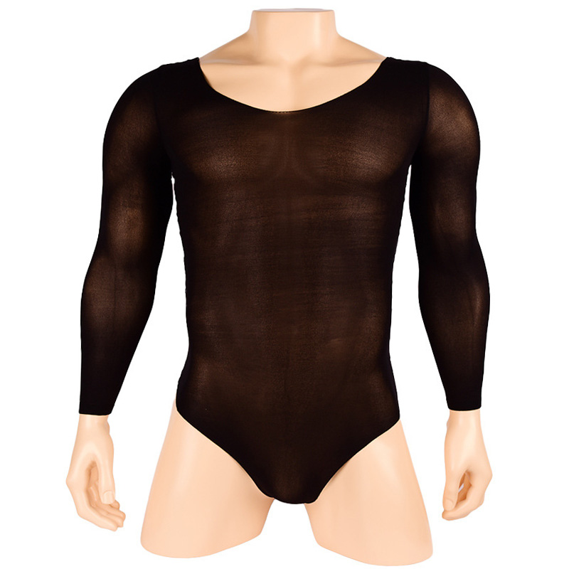 High Quality Men bodystocking Super shiny Long Sleeve Sheath Closed OP Bodysuit