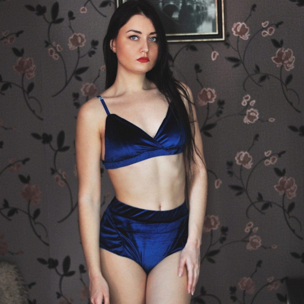 3e6fe3ed6 2019 Kenancy Fashion Women Velvet Underwear Straps Bralette Panties ...