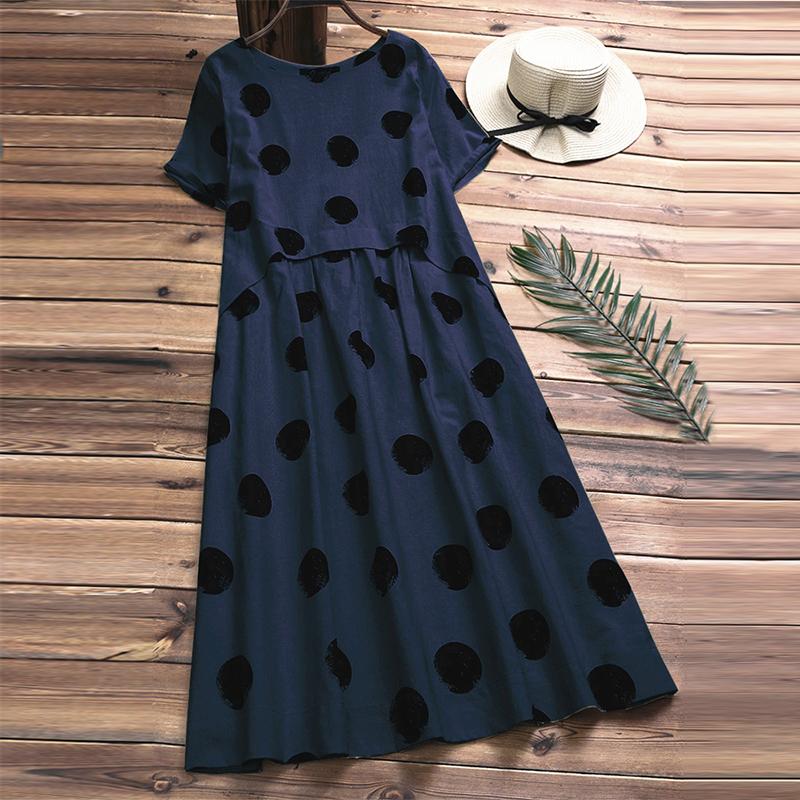 Vintage Women Linen Summer Dress 2019 Plus Size Female Pleated Beach Sundress Ladies Casual Print Polka Dot Long Vestidos Kaftan Y19050905