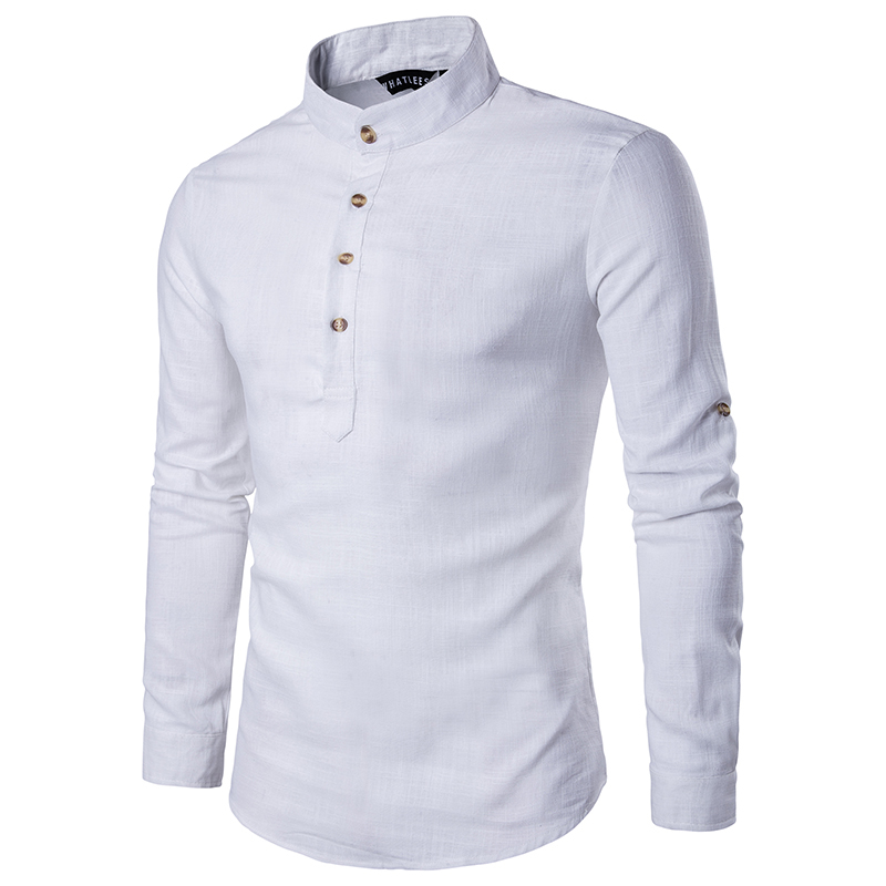 2019 Men casual Shirt long sleeve Mandarin Collar shirts solid color Traditional Chinese Style shirt Cotton Blended plus size T190829