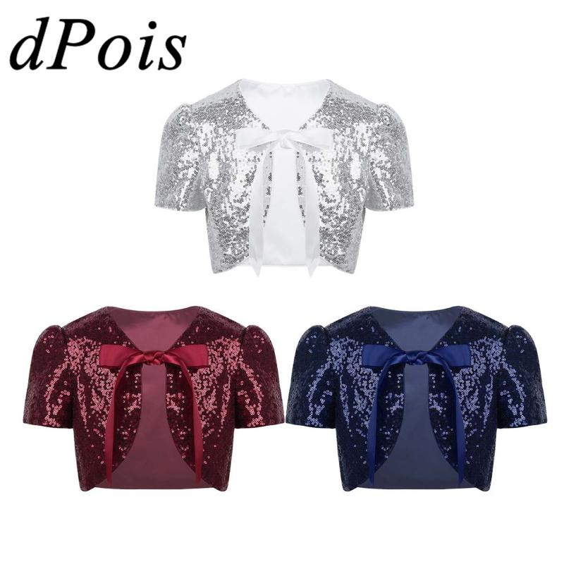 dPois Girls Short Sleeves Tie Up Front Cropped Bolero Shrug Cardigan Dress Accessories Cotton Short Jacket