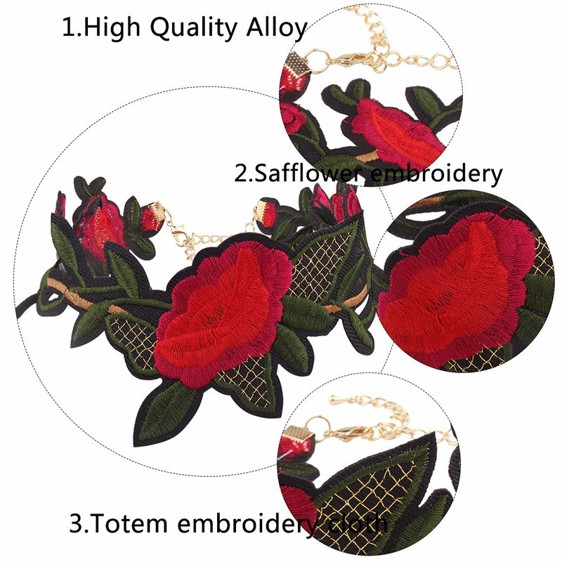 Hot Vintage Trendy Embroidery Rattan Flowers Cloth Choker Necklace For Women Jewelry Accessories