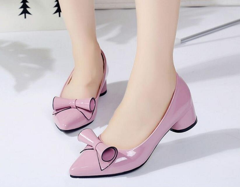 Dress Shoes Bow Casual Jelly Work Head Shallow Mouth All Matching Fashion New Year Autumn Women's A635