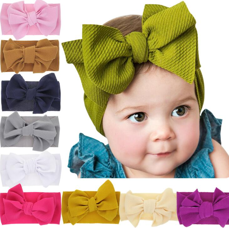 Baby Bowknot Hairband Girls Big bow Cross Headbands Elastic Headdress Kids Stretchy Hair Bands Headwrap Turban Hair Accessories GGA2009